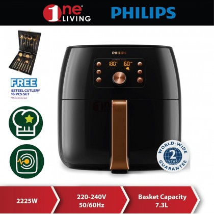 Philips 7.3L Premium Airfryer XXL HD9860 (HD9860/99) (Free Stainless Steel Cutlery Set)