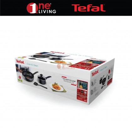 Tefal Cook & Clean 4pcs Set (Small Cooking Pot + Wok Pan + Small Spatula) B225S4